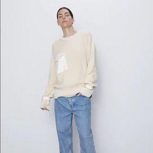 Zara Knit Sweater With Pocket